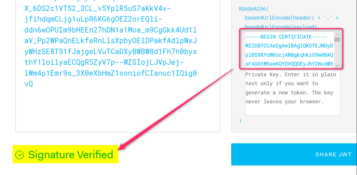 Using jwt io to verify the signature of a JWT token | Azure