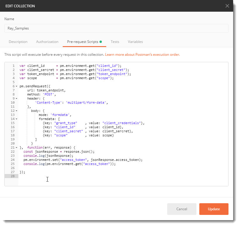 Setup Postman to acquire access tokens before making a