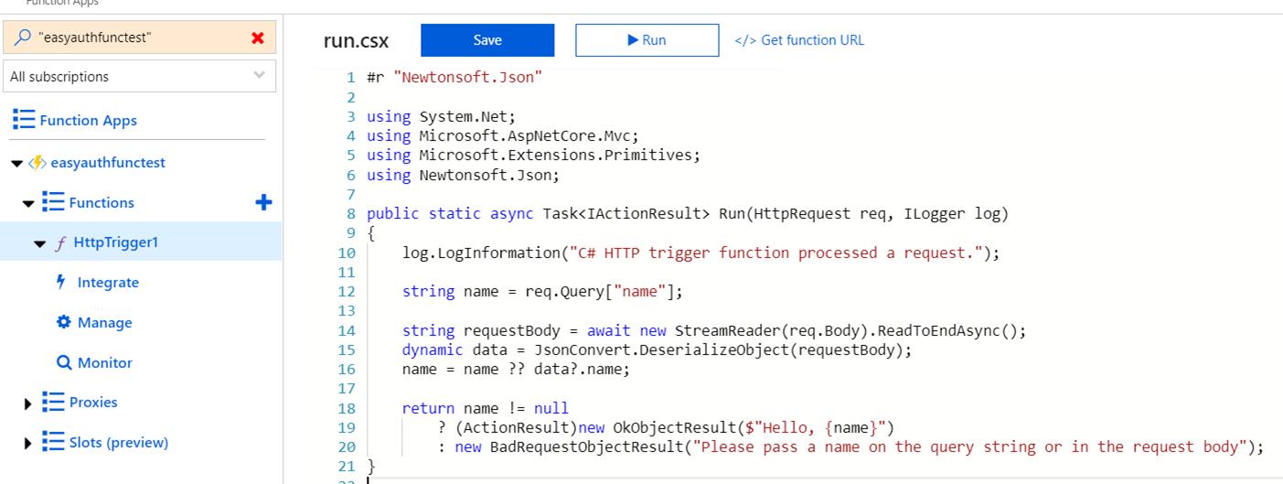 msal net console app calls Easy Auth Function App   Azure